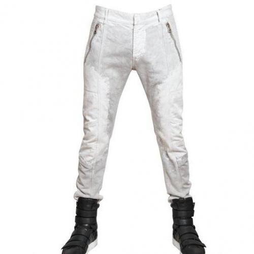 Pierre Balmain - 17Cm Bleached Denim Biker Jeans