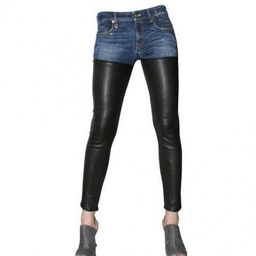 R 13 - Leder Stretch Und Denim Jeans