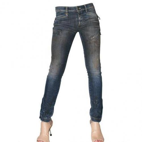 R 13 - Zip Denim Stretch Biker Jeans