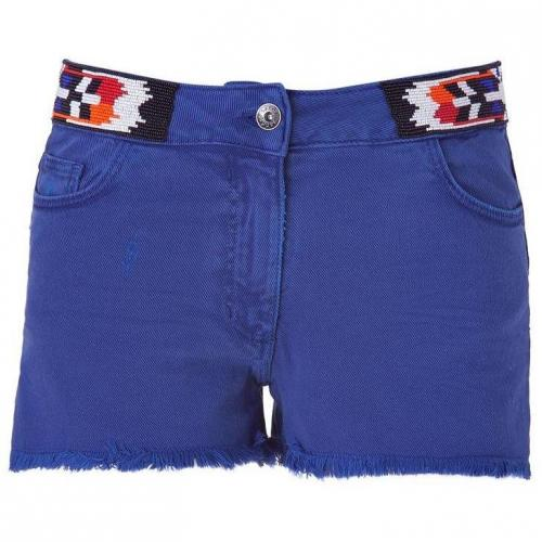 Sandro Indigo Tribal Pearl Embroidered Shorts