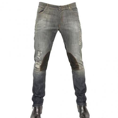 Tom Rebl - 18Cm Wildleder Einsätze Stretch Denim Jeans